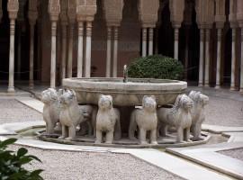 """La fuente de los leones está compuesta por una base octogonal que está sostenida por doce leones por cuya boca mana el agua. El agua es el elemento principal, y presta su reflejo en la fuente. Podría decirse que """"este patio representa la principal recreación del paraíso islámico, el mundo de los sentidos"""".El modelo de jardín es el persa, que es la tipología de jardín que predominará en las construcciones palaciegas. Y tiene un alto valor simbólico."""