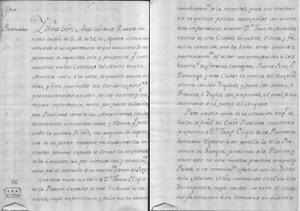 Carta secreta dirigida por D. Diego José Navarro al ministro de Indias José de Gálvez, informándole de la elección de Miralles y Eligio de la Puente como espías. Crédito: PARES.