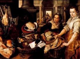 Cristo en casa de Marta y María. Oleo de Joachim Beuckelaer