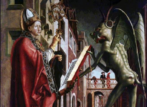 El Diablo sostiene el Misal de San Wolfang, S XV