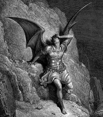 El Ángel caído, obra de Gustav Dore, inspirada en El paraíso perdido de Milton.