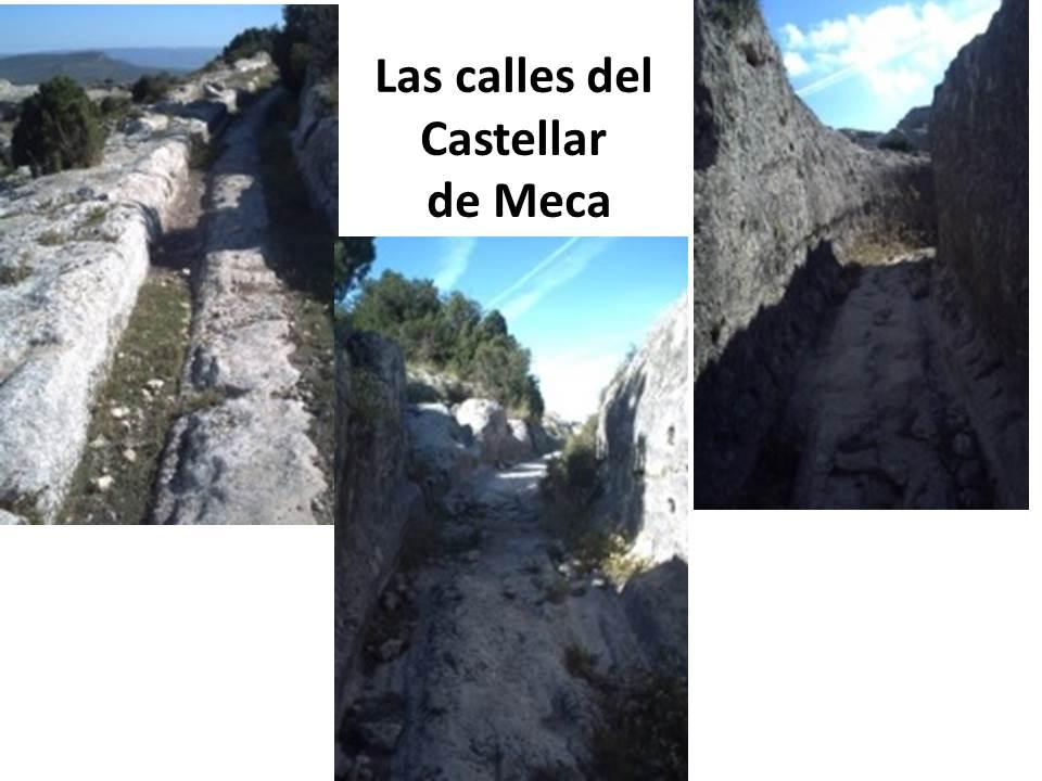 Paso de carruajes. Los carros a lo largo de 1500 años, fueron dejando sus huellas en la roca.