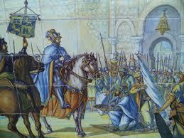 Mosaico talaverano representando la conquista de Toledo por parte de las huestes de Alfonso VI