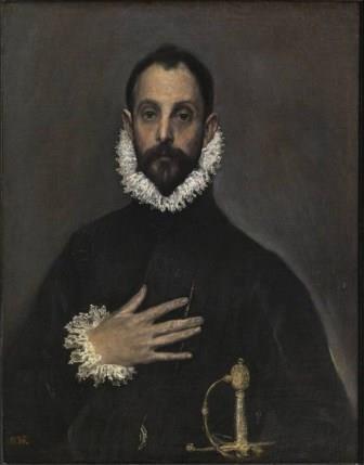 El caballero de la mano en el pecho es uno de los más famosos retratos creados por Doménikos Theotokópoulos El Greco. Es un óleo sobre lienzo pintado hacia 1578 y 1580,1 su primera etapa española. Igualmente la persona retratada era de identidad desconocida, hoy se considera que es el marqués de Montemayor y notario mayor de Toledo,  pero hasta hace poco se ha querido ver que podía ser una configuración de Miguel de Cervantes Saavedra. Es uno de los retratos españoles más conocidos en el mundo. Un caballero con la mano en el pecho mira al espectador como si hiciese un pacto con él. La postura de la mano parece un gesto de juramento.3 Este hombre está vestido de forma fina y elegante y porta una espada dorada. De oro es también el medallón con cadena que lleva. En su tiempo se convirtió en la representación clásica y honorable del español del Siglo de Oro. En la reciente restauración que se hizo, se descubrió que el fondo no era negro sino gris claro, lo que resalta la figura, además de una luz exterior que ilumina el rostro. Igualmente, puso en evidencia los ricos matices en el ropaje oscuro, lo que confirma la influencia de la escuela veneciana.