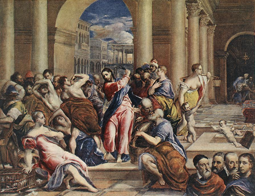 La expulsión de los mercaderes del templo es un cuadro pintado por El Greco (Domenikos Theotokopoulos, 1541-1614). Este óleo sobre tela mide 106 centímetros de alto y 130 cm de ancho, y fue ejecutado hacia el año 1600. Se conserva en la National Gallery de Londres, Reino Unido. Además existen otras cinco versiones de este mismo tema. Las dos primeras corresponden al periodo italiano. En ésta desaparecen figuras laterales de versiones anteriores y tanto el grupo de mercaderes expulsados de la izquierda como el de la derecha adquieren prácticamente la composición definitiva que se conservó en el resto de versiones. Cristo adquiere respecto a los cuadros anteriores más jerarquía quedando totalmente exento de las figuras que lo rodean, también mediante efectos de luz adquiere más protagonismo, básicamente apagando el resto de personajes.La arquitectura sigue siendo la romana que corresponde a la segunda versión pero en ésta se ha reducido su importancia, ahora solo ocupa la cuarta parte superior, también el color de la misma es más apagado. En esta versión predomina la importancia de las figuras. Existe otra versión también realizada en el 1600, que se conserva en la Frick Collection de Nueva York, prácticamente igual a ésta pero de menor tamaño.