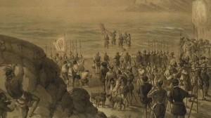 Vasco Núñez de Balboa, descubriendo el Océano Pacífico. Grabado del Museo Naval, Madrid