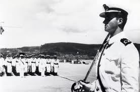 Don Juan Carlos de guardiamarina en la Escuela Naval de Marín, Pontevedra