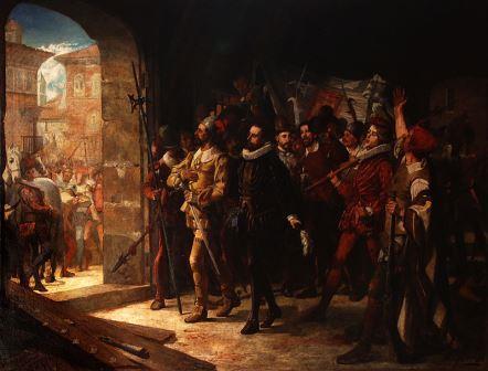 Antonio Pérez, lierado por el pueblo aragonés en 1591. cuadro de Manuel Ferran Bayona