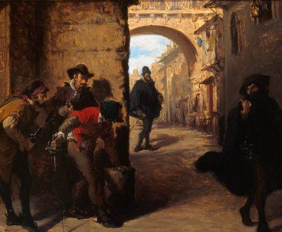 Este óleo de Lorenzo Vallés recrea la emboscada que los sicarios de Antonio Pérez tendieron a Juan de Escobedo en 1578. Siglo XIX. Museo Municipal, Málaga.