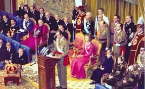 Don Juan Carlos I, dando su primer discurso como Rey en las Cortes Españolas