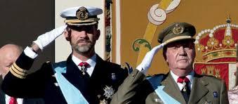 Juan Carlos I y su hijo el Príncipe de Asturias, hoy en día el rey Felipe VI de España