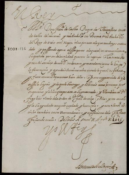 Real Cédula que ordenaba a Francisco Ruiz de Cstro, Conde de Castro y Embajador de España en Roma, a que rindiera honores a la embajada japonesa al llegar a la ciudad eterna.