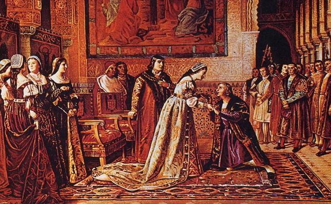 Lienzo de la Reina Isabel la Católica en la Alhambra, recibiendo y desaprobando la conducta de Cristobal Colón