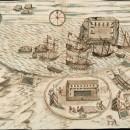 Plano del año 1671 de la bahía de Alhucemas. Se ve perfectamente la isla de Alhucemas y su castillo así como otro baluarte en la bahía