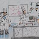 Cocina moderna. Dibujo de José Manuel Mójica