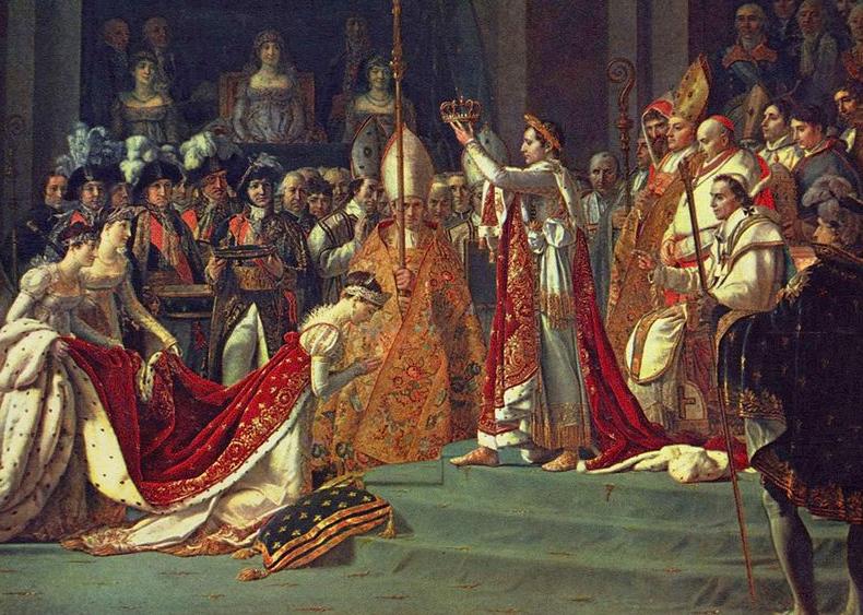 La consagración de Napoleón, es una pintura deJacques-Louis David, pintor oficial deNapoleón Bonaparterealizada entre1805y1808. El cuadro tiene unas impresionantes dimensiones de 629 x 979 cm y se conserva en elMuseo del LouvredeParís,Francia, si bien existe una réplica posterior en elPalacio de Versalles. La coronación y la consagración tuvieron lugar enNotre Dame de París, una manera para Napoleón de poner de manifiesto que era un hijo de laRevolución: designaba la capital como el centropolítico, administrativo yculturaldeFrancia.