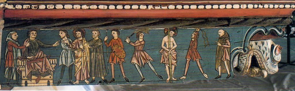 Jesús ante Pilatos y flagelación- Fresco en la catedral de Teruel