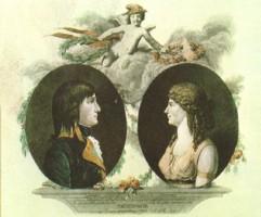Estampa de la época que representa el matrimonio entre Napoleón y Josefina