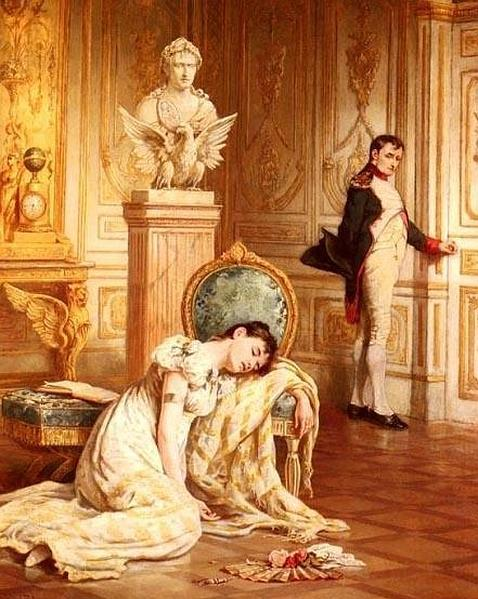 """Despedida de Napoleón a Josefina. Óleo de Laslet John Pott—Napoleón después de su divorcio y en su exilio de la isla de Santa Helena dijo: """"Quise de verdad a Josefina, aunque no la estimaba.Era demasiado mentirosa. Pero tenía algo que me gustaba mucho; era una verdadera mujer; tenía el culo más bonito del mundo, con su isla de Les Trois-Îllets de La Martinica""""."""