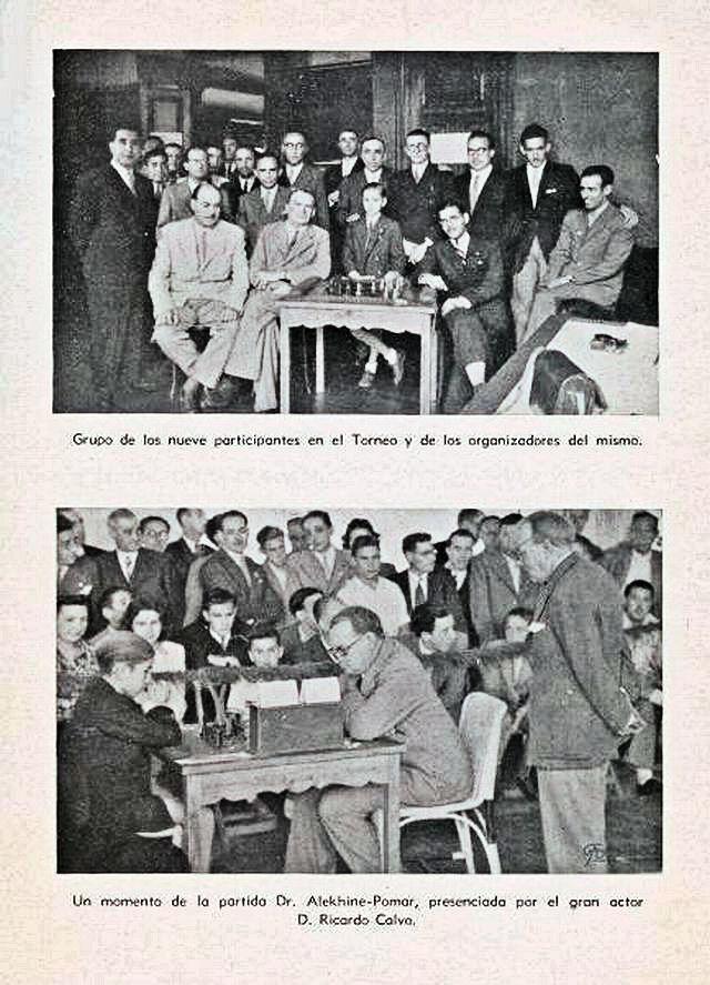 Partida entre Pomar y Alekhine. El observador e  el actor Ricardo Calvo