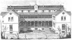 Grabado de la época de la fachada del Hospital de San José en Madrid